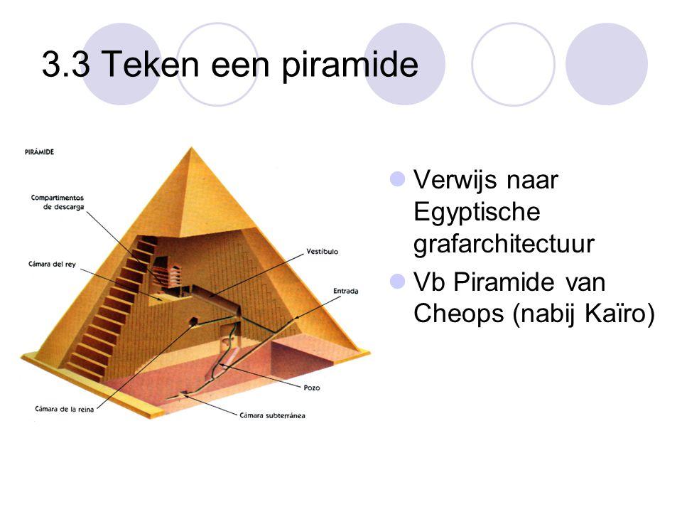 3.3 Teken een piramide  Verwijs naar Egyptische grafarchitectuur  Vb Piramide van Cheops (nabij Kaïro)