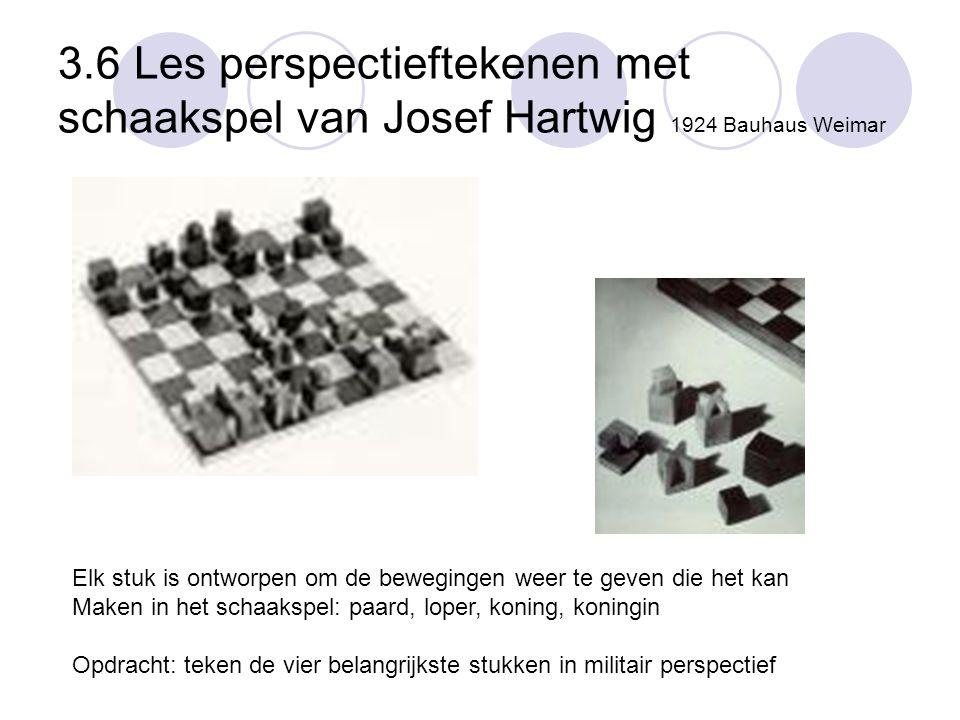 3.6 Les perspectieftekenen met schaakspel van Josef Hartwig 1924 Bauhaus Weimar Elk stuk is ontworpen om de bewegingen weer te geven die het kan Maken