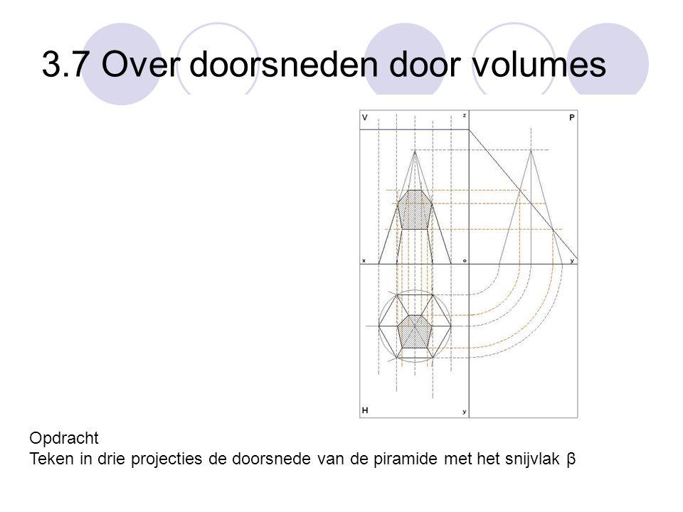 3.7 Over doorsneden door volumes Opdracht Teken in drie projecties de doorsnede van de piramide met het snijvlak β