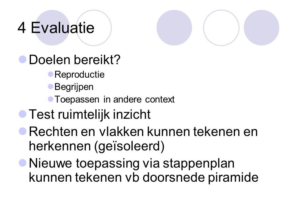 4 Evaluatie  Doelen bereikt?  Reproductie  Begrijpen  Toepassen in andere context  Test ruimtelijk inzicht  Rechten en vlakken kunnen tekenen en