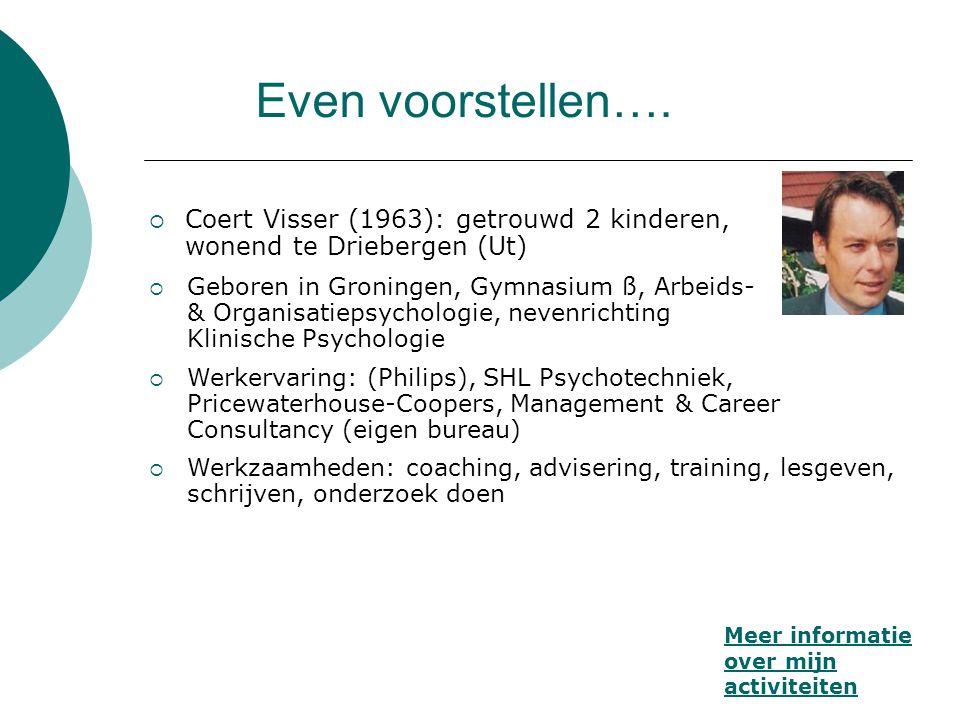 Even voorstellen….  Coert Visser (1963): getrouwd 2 kinderen, wonend te Driebergen (Ut) Meer informatie over mijn activiteiten  Geboren in Groningen