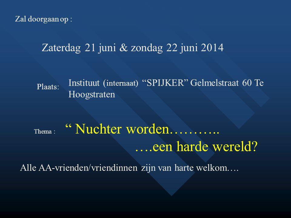 Zal doorgaan op : Zaterdag 21 juni & zondag 22 juni 2014 Plaats: Instituut ( internaat) SPIJKER Gelmelstraat 60 Te Hoogstraten Alle AA-vrienden/vriendinnen zijn van harte welkom….