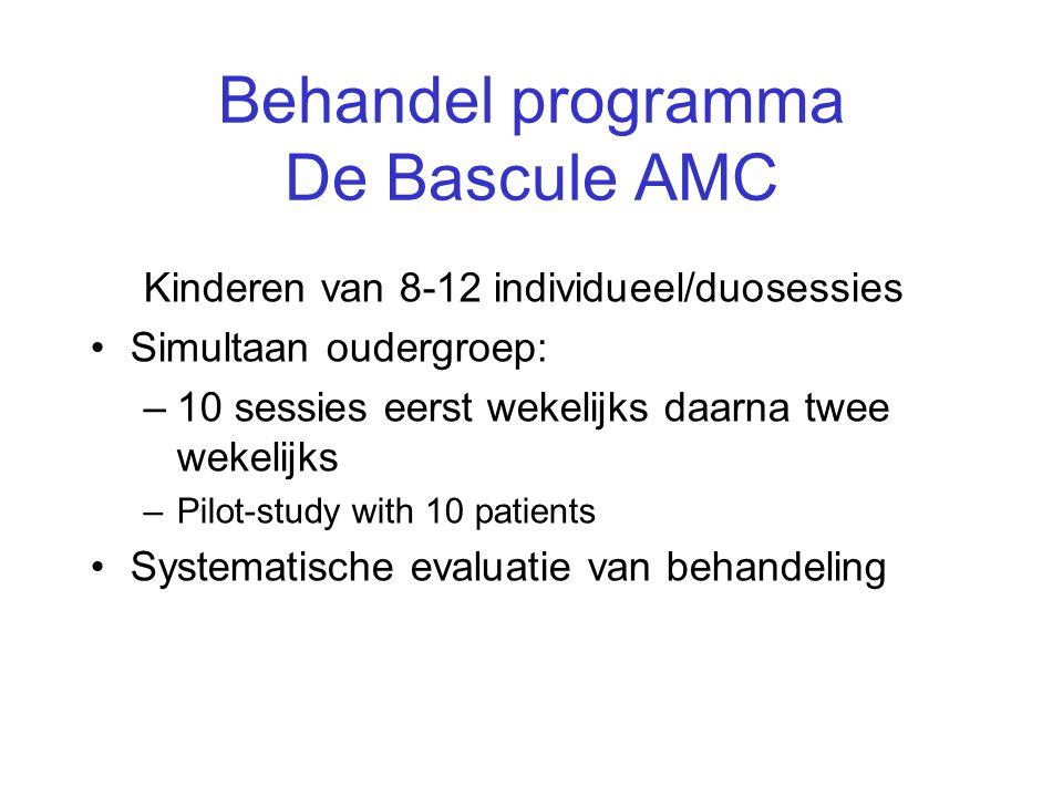 Behandel programma De Bascule AMC Kinderen van 8-12 individueel/duosessies •Simultaan oudergroep: –10 sessies eerst wekelijks daarna twee wekelijks –P