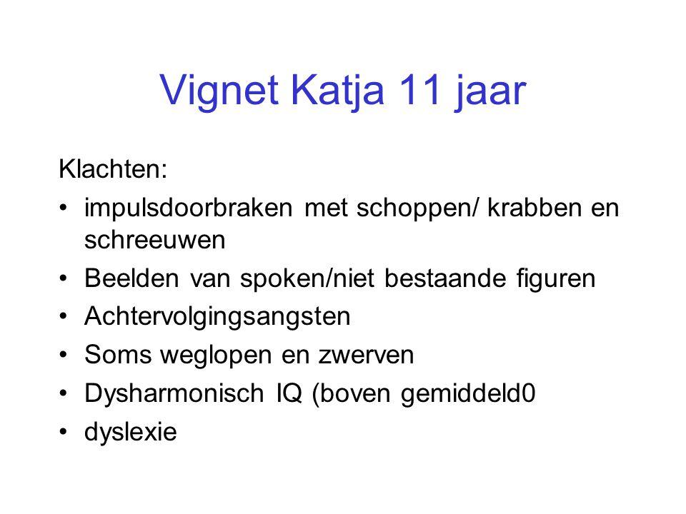 Vignet Katja 11 jaar Klachten: •impulsdoorbraken met schoppen/ krabben en schreeuwen •Beelden van spoken/niet bestaande figuren •Achtervolgingsangsten