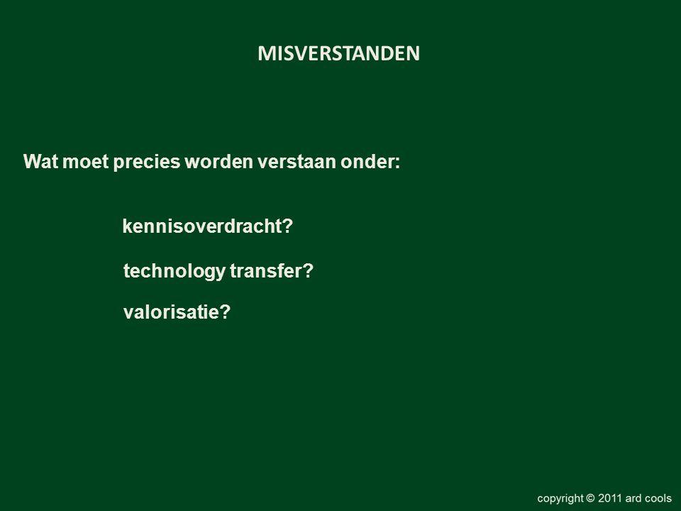 kennisoverdracht? MISVERSTANDEN Wat moet precies worden verstaan onder: technology transfer? valorisatie?