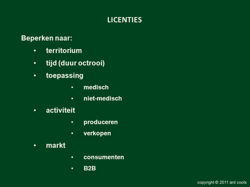 LICENTIES Beperken naar: •territorium •tijd (duur octrooi) •toepassing •medisch •niet-medisch •activiteit •produceren •verkopen •markt •consumenten •B2B