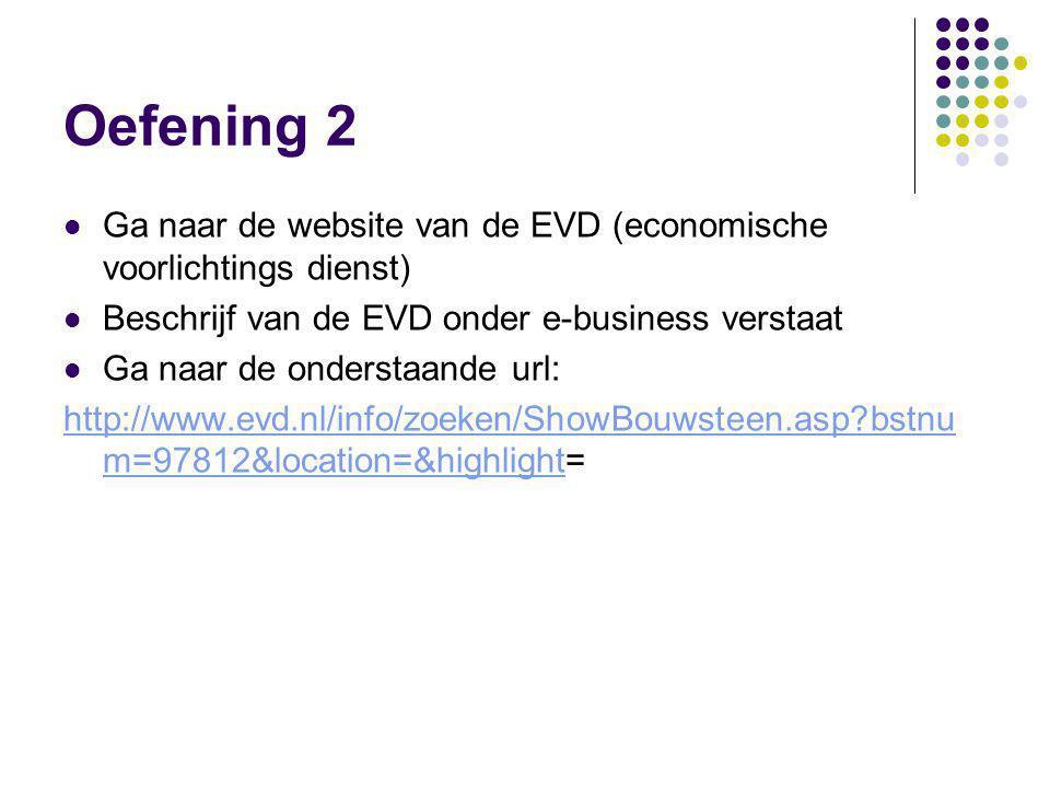 Oefening 2  Ga naar de website van de EVD (economische voorlichtings dienst)  Beschrijf van de EVD onder e-business verstaat  Ga naar de onderstaande url: http://www.evd.nl/info/zoeken/ShowBouwsteen.asp?bstnu m=97812&location=&highlighthttp://www.evd.nl/info/zoeken/ShowBouwsteen.asp?bstnu m=97812&location=&highlight=