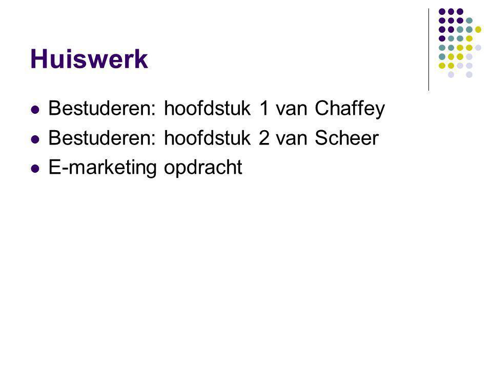 Huiswerk  Bestuderen: hoofdstuk 1 van Chaffey  Bestuderen: hoofdstuk 2 van Scheer  E-marketing opdracht