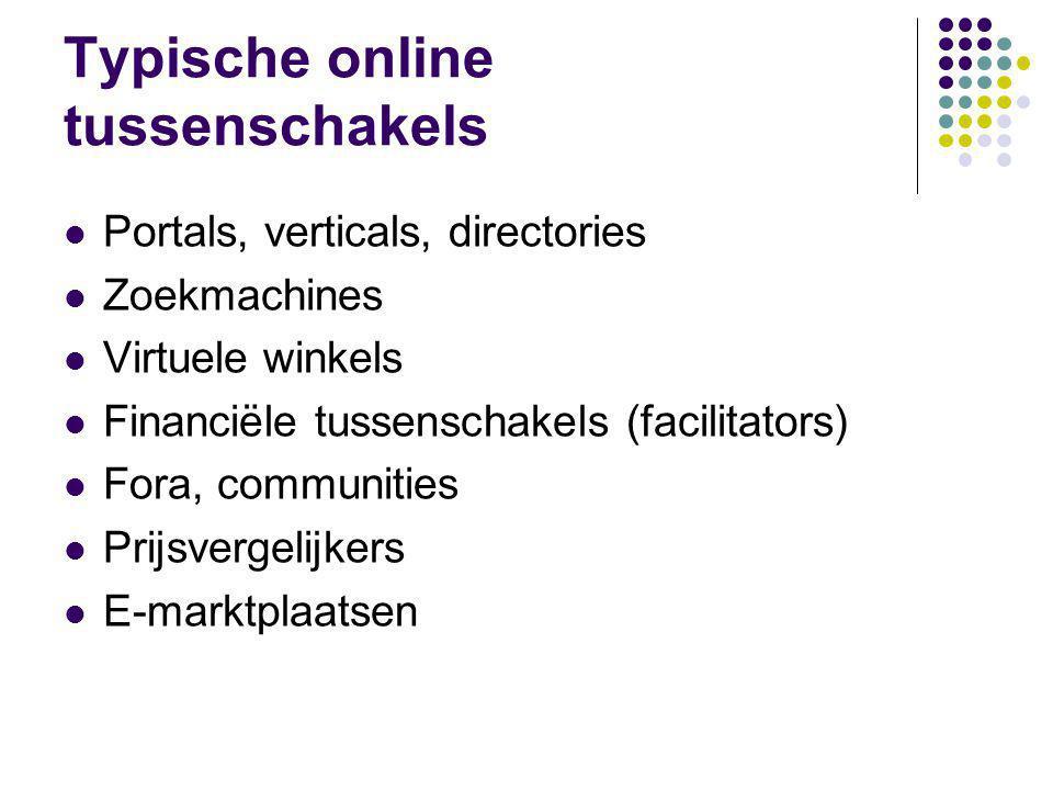 Typische online tussenschakels  Portals, verticals, directories  Zoekmachines  Virtuele winkels  Financiële tussenschakels (facilitators)  Fora, communities  Prijsvergelijkers  E-marktplaatsen
