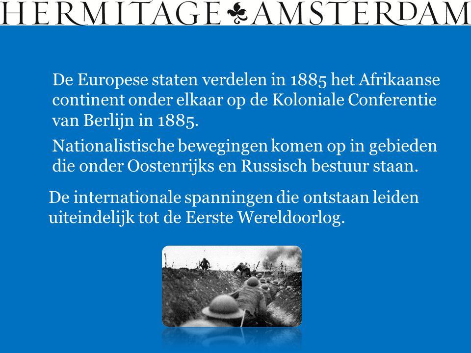 De Europese staten verdelen in 1885 het Afrikaanse continent onder elkaar op de Koloniale Conferentie van Berlijn in 1885. De internationale spanninge