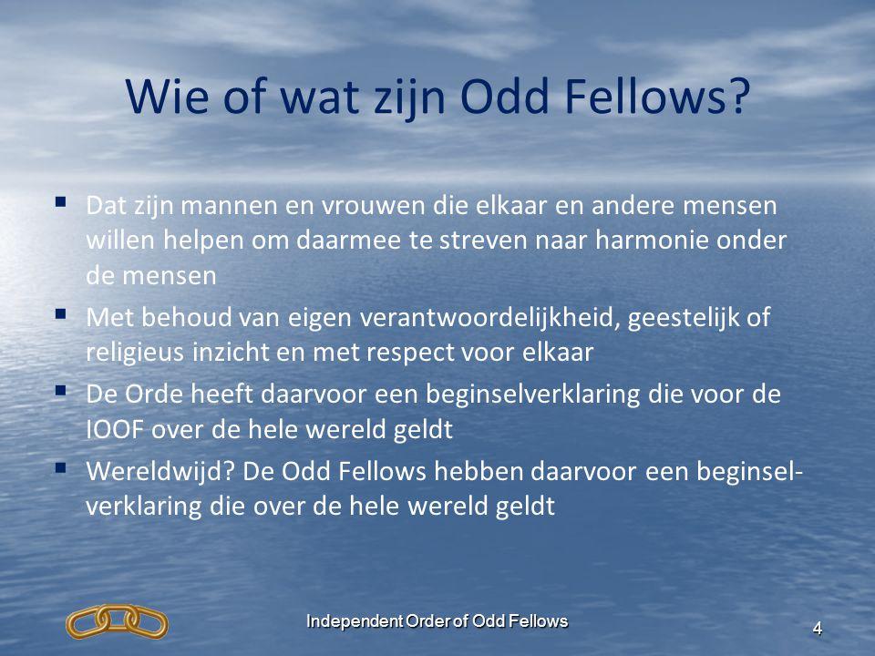 Wie of wat zijn Odd Fellows?   Dat zijn mannen en vrouwen die elkaar en andere mensen willen helpen om daarmee te streven naar harmonie onder de men