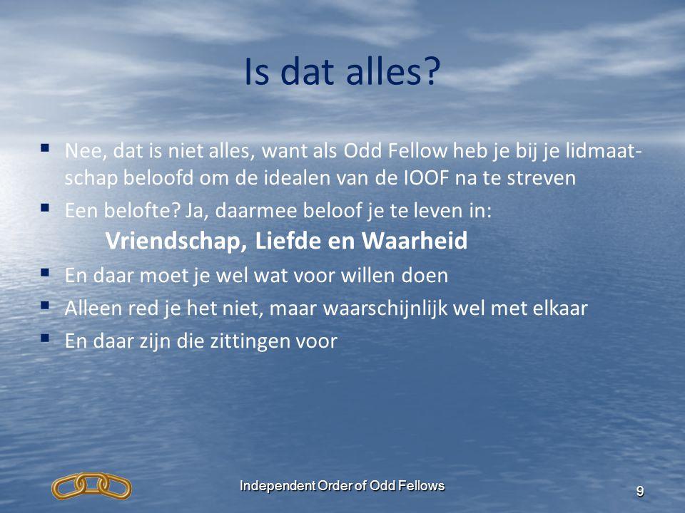 Independent Order of Odd Fellows 10 Waarom is de IOOF ontstaan.