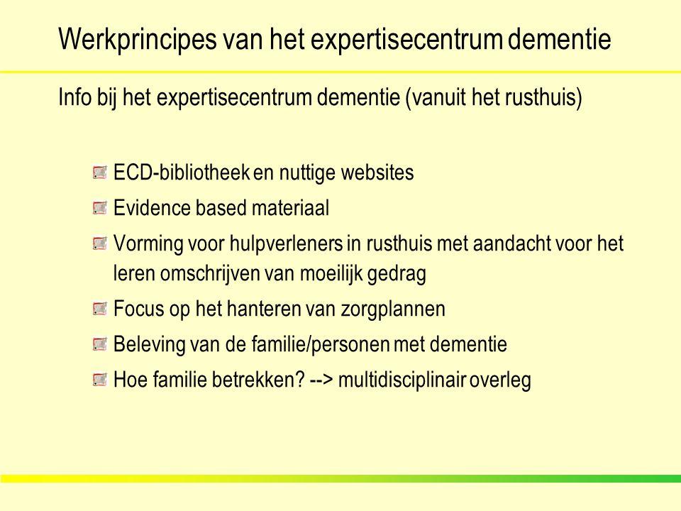 Werkprincipes van het expertisecentrum dementie Info bij het expertisecentrum dementie (vanuit het rusthuis) ECD-bibliotheek en nuttige websites Evide