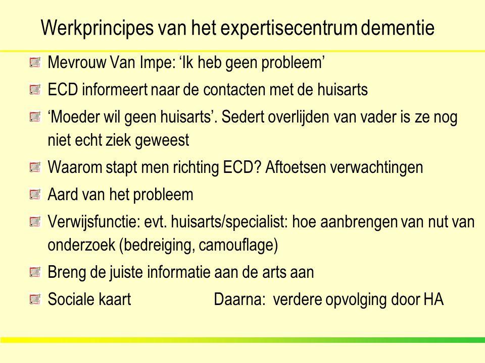 Werkprincipes van het expertisecentrum dementie Mevrouw Van Impe: 'Ik heb geen probleem' ECD informeert naar de contacten met de huisarts 'Moeder wil