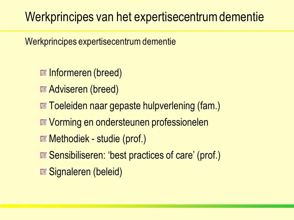 Werkprincipes van het expertisecentrum dementie Werkprincipes expertisecentrum dementie Informeren (breed) Adviseren (breed) Toeleiden naar gepaste hu