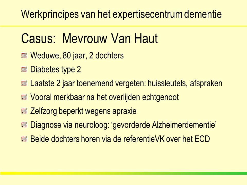 Werkprincipes van het expertisecentrum dementie Casus: Mevrouw Van Haut Weduwe, 80 jaar, 2 dochters Diabetes type 2 Laatste 2 jaar toenemend vergeten: