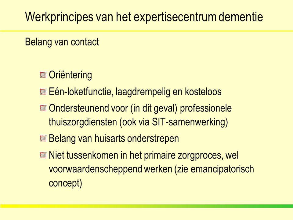 Werkprincipes van het expertisecentrum dementie Belang van contact Oriëntering Eén-loketfunctie, laagdrempelig en kosteloos Ondersteunend voor (in dit