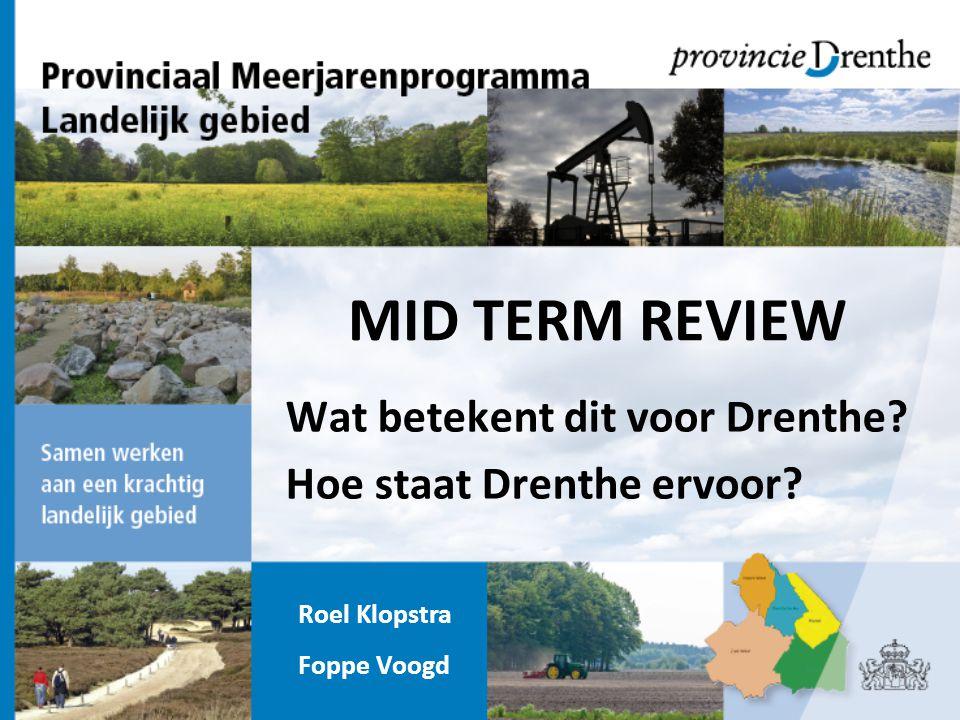 Wat betekent dit voor Drenthe? Hoe staat Drenthe ervoor? MID TERM REVIEW Roel Klopstra Foppe Voogd