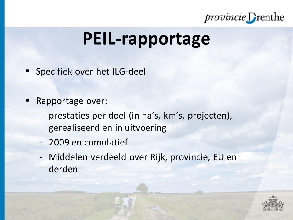 PEIL-rapportage  Specifiek over het ILG-deel  Rapportage over: -prestaties per doel (in ha's, km's, projecten), gerealiseerd en in uitvoering -2009 en cumulatief -Middelen verdeeld over Rijk, provincie, EU en derden