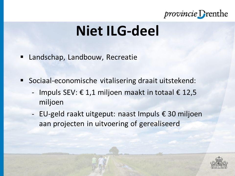 Niet ILG-deel  Landschap, Landbouw, Recreatie  Sociaal-economische vitalisering draait uitstekend: -Impuls SEV: € 1,1 miljoen maakt in totaal € 12,5 miljoen -EU-geld raakt uitgeput: naast Impuls € 30 miljoen aan projecten in uitvoering of gerealiseerd
