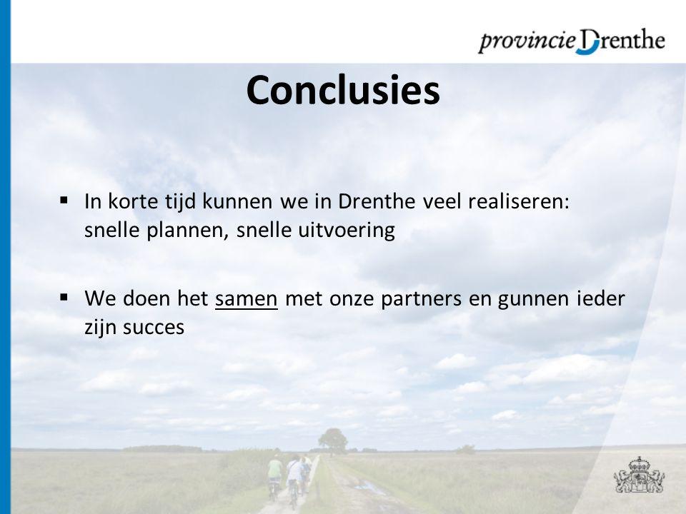 Conclusies  In korte tijd kunnen we in Drenthe veel realiseren: snelle plannen, snelle uitvoering  We doen het samen met onze partners en gunnen ieder zijn succes