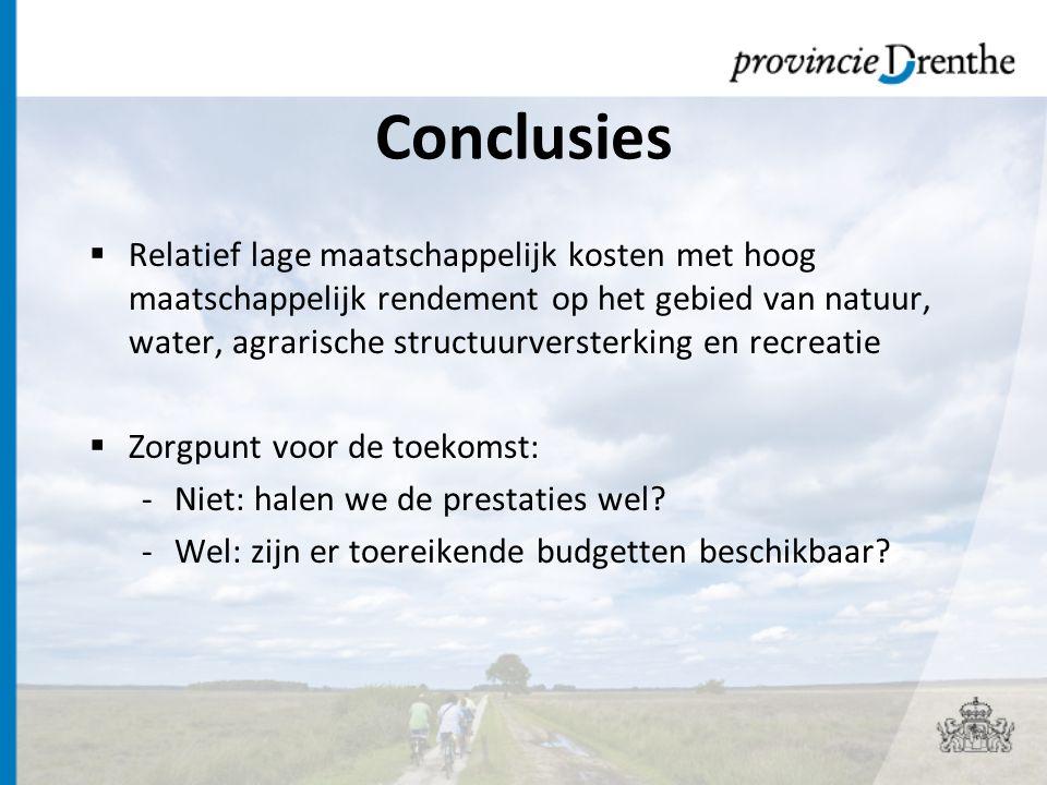 Conclusies  Relatief lage maatschappelijk kosten met hoog maatschappelijk rendement op het gebied van natuur, water, agrarische structuurversterking en recreatie  Zorgpunt voor de toekomst: -Niet: halen we de prestaties wel.