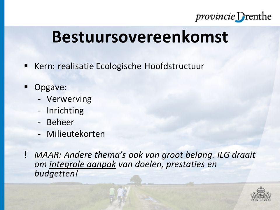 Bestuursovereenkomst  Kern: realisatie Ecologische Hoofdstructuur  Opgave: -Verwerving -Inrichting -Beheer -Milieutekorten !MAAR: Andere thema's ook van groot belang.