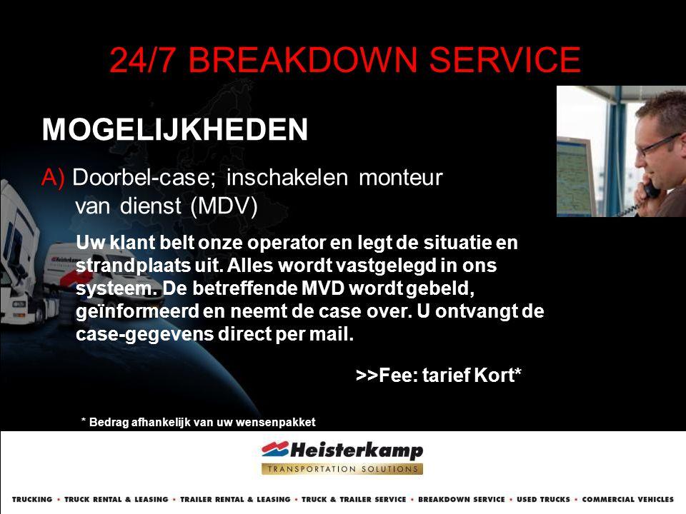 MOGELIJKHEDEN 24/7 BREAKDOWN SERVICE A) Doorbel-case; inschakelen monteur van dienst (MDV) Uw klant belt onze operator en legt de situatie en strandpl