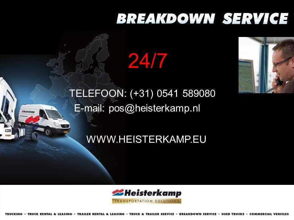 24/7 TELEFOON: (+31) 0541 589080 E-mail: pos@heisterkamp.nl WWW.HEISTERKAMP.EU