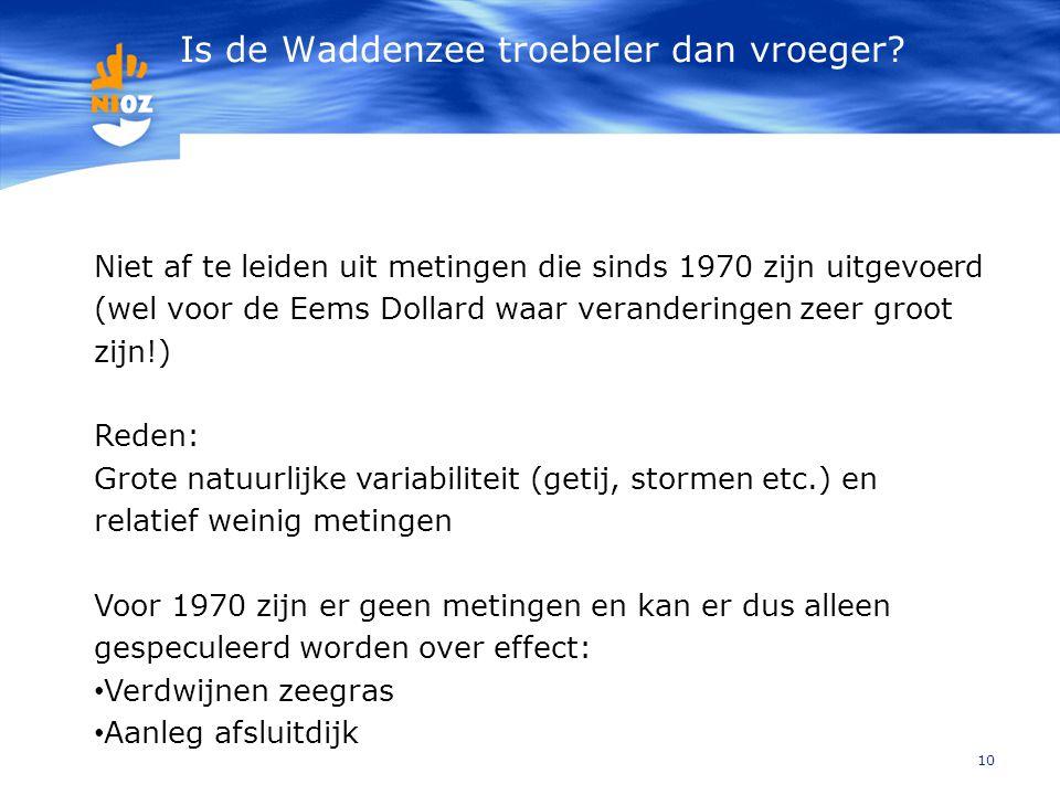 Is de Waddenzee troebeler dan vroeger? 10 Niet af te leiden uit metingen die sinds 1970 zijn uitgevoerd (wel voor de Eems Dollard waar veranderingen z