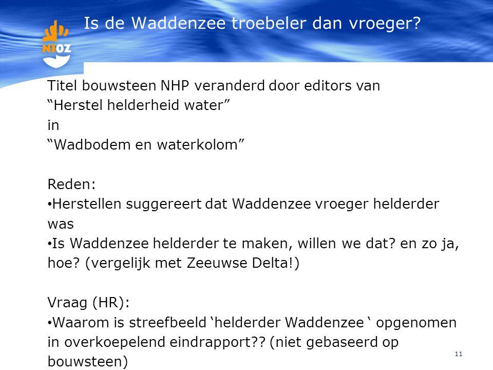 """Is de Waddenzee troebeler dan vroeger? 11 Titel bouwsteen NHP veranderd door editors van """"Herstel helderheid water"""" in """"Wadbodem en waterkolom"""" Reden:"""