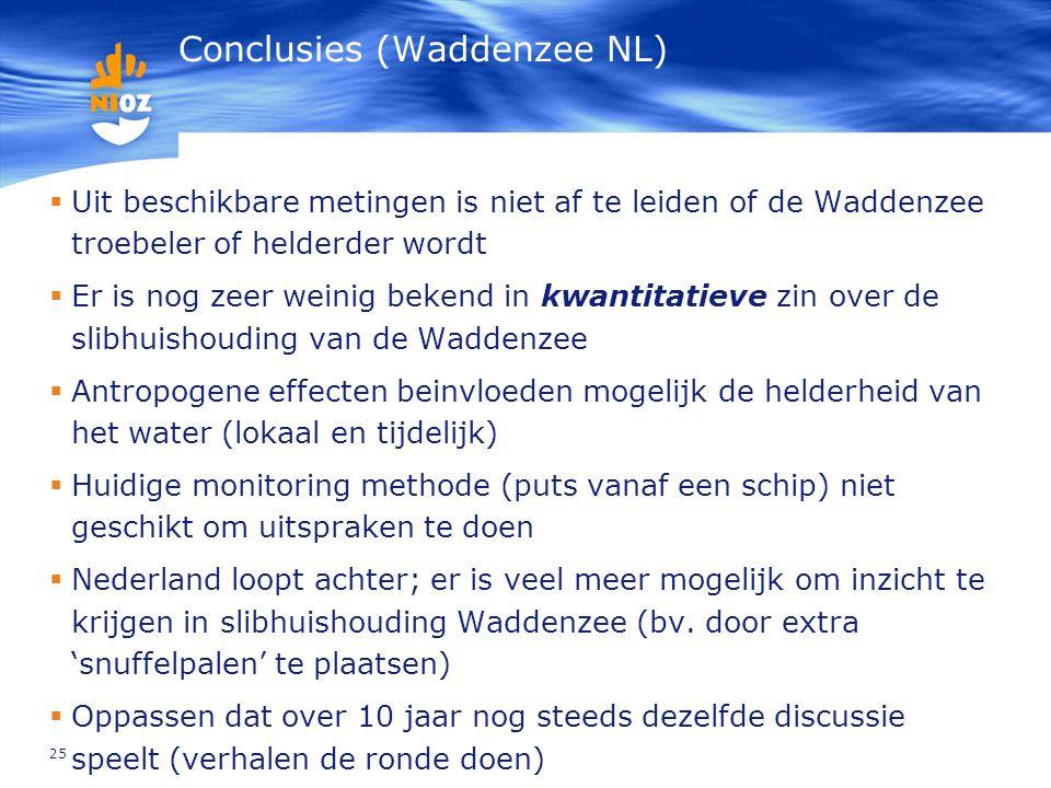 25 Conclusies (Waddenzee NL)  Uit beschikbare metingen is niet af te leiden of de Waddenzee troebeler of helderder wordt  Er is nog zeer weinig beke