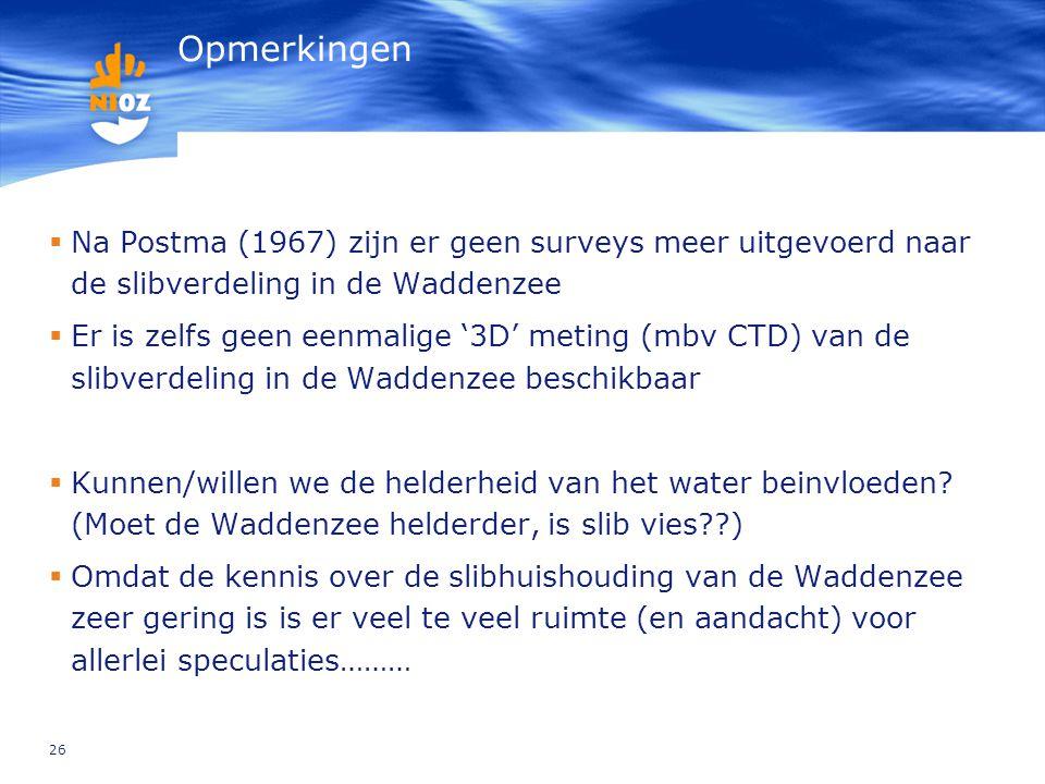 26 Opmerkingen  Na Postma (1967) zijn er geen surveys meer uitgevoerd naar de slibverdeling in de Waddenzee  Er is zelfs geen eenmalige '3D' meting