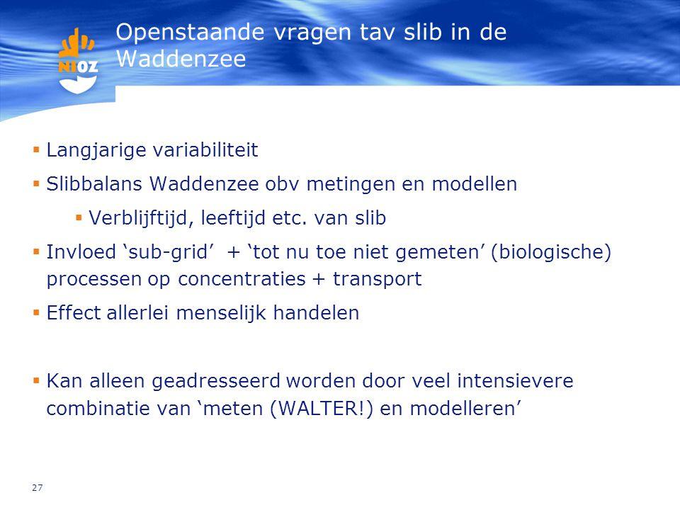27 Openstaande vragen tav slib in de Waddenzee  Langjarige variabiliteit  Slibbalans Waddenzee obv metingen en modellen  Verblijftijd, leeftijd etc