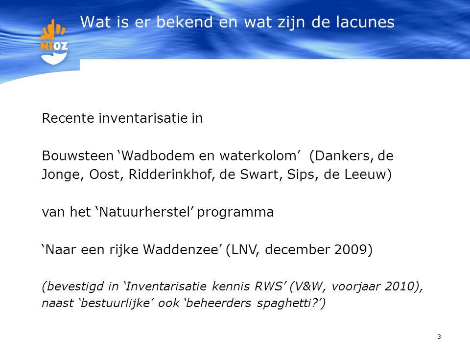 Wat is er bekend en wat zijn de lacunes 3 Recente inventarisatie in Bouwsteen 'Wadbodem en waterkolom' (Dankers, de Jonge, Oost, Ridderinkhof, de Swar