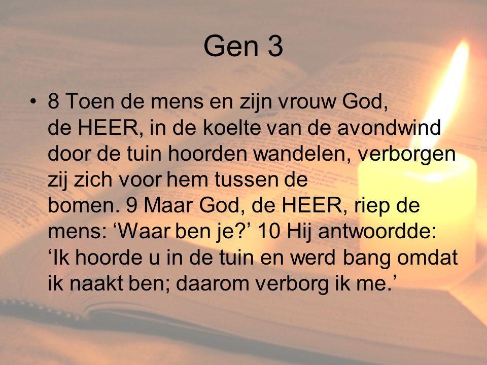 Gen 3 •8 Toen de mens en zijn vrouw God, de HEER, in de koelte van de avondwind door de tuin hoorden wandelen, verborgen zij zich voor hem tussen de b