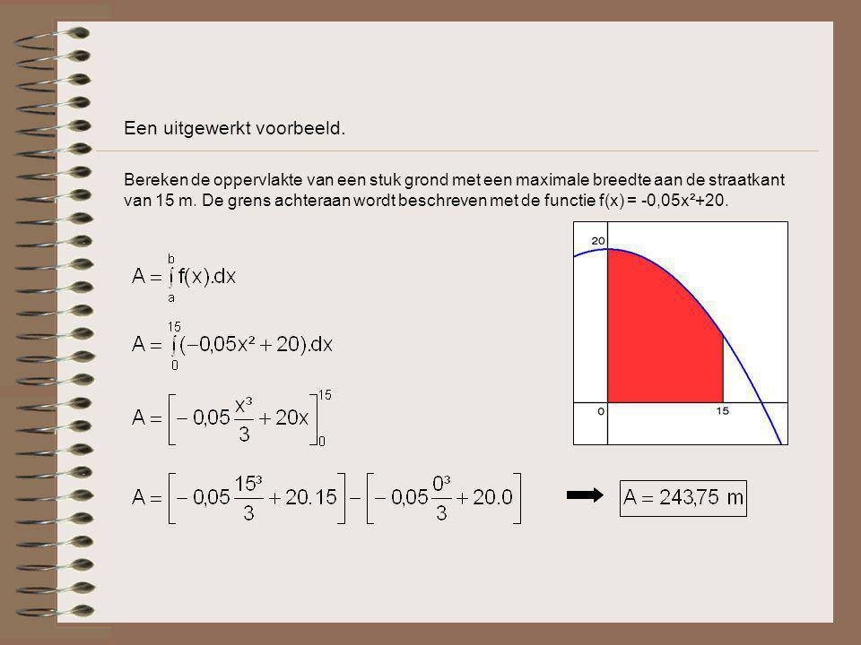 Voorbeeld… Bepaal nu ook de oppervlaktefunctie: Met deze oppervlaktefunctie kan je de oppervlakte van de grond berekenen voor verschillende x-waarden (=breedtes).