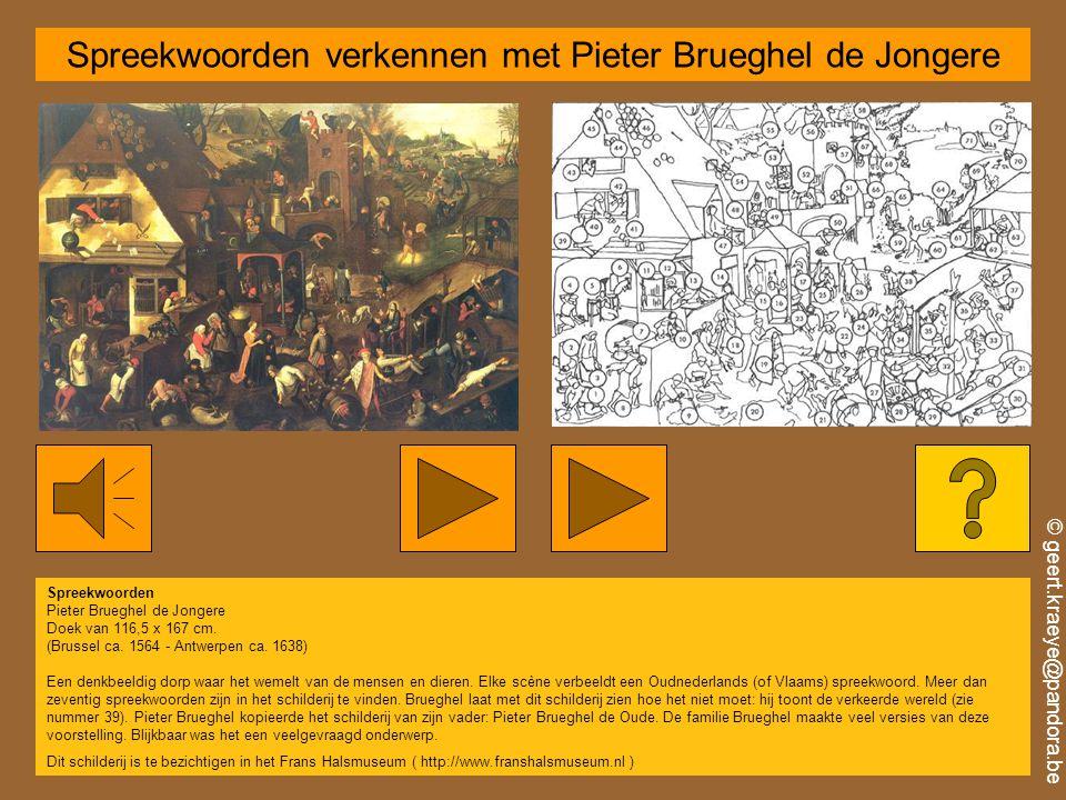 © geert.kraeye@pandora.be Spreekwoorden verkennen met Pieter Brueghel de Jongere Spreekwoorden Pieter Brueghel de Jongere Doek van 116,5 x 167 cm.