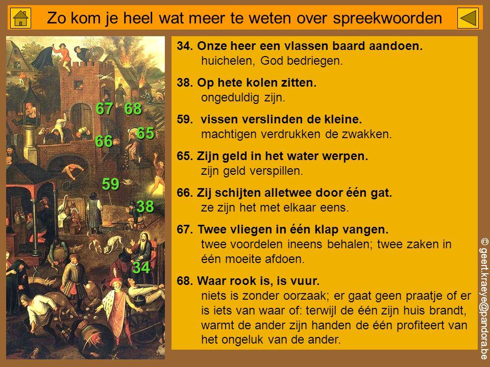 © geert.kraeye@pandora.be Zo kom je heel wat meer te weten over spreekwoorden 34.
