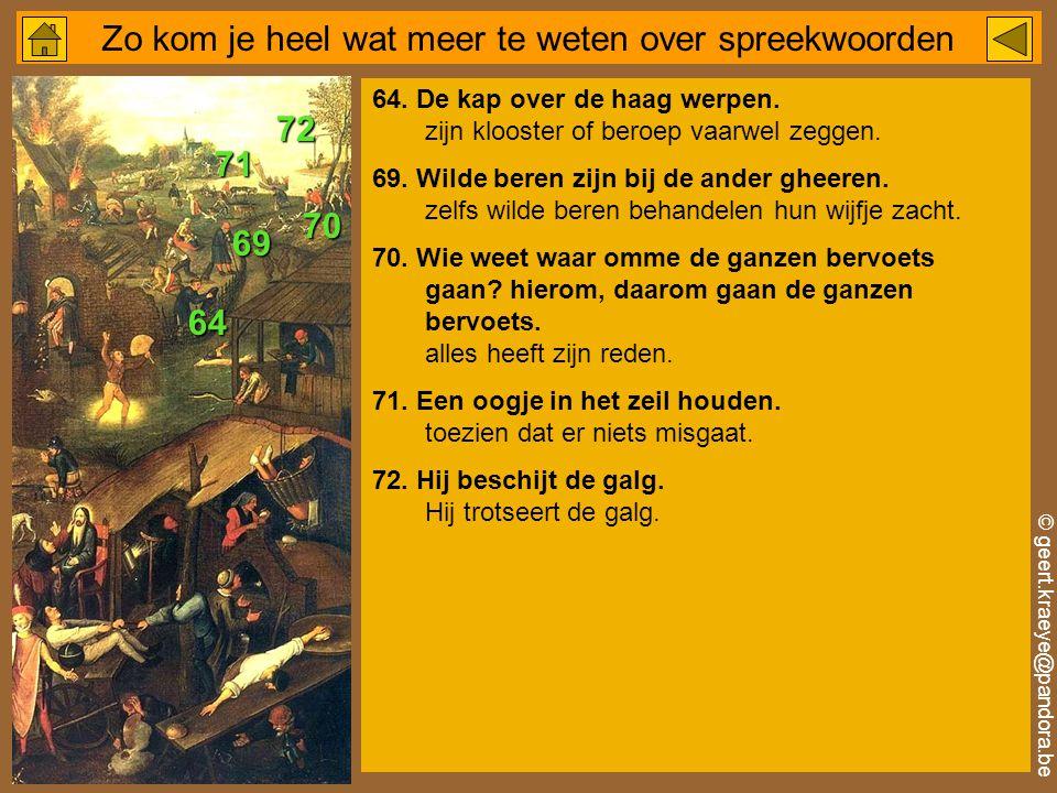 © geert.kraeye@pandora.be Zo kom je heel wat meer te weten over spreekwoorden 64.