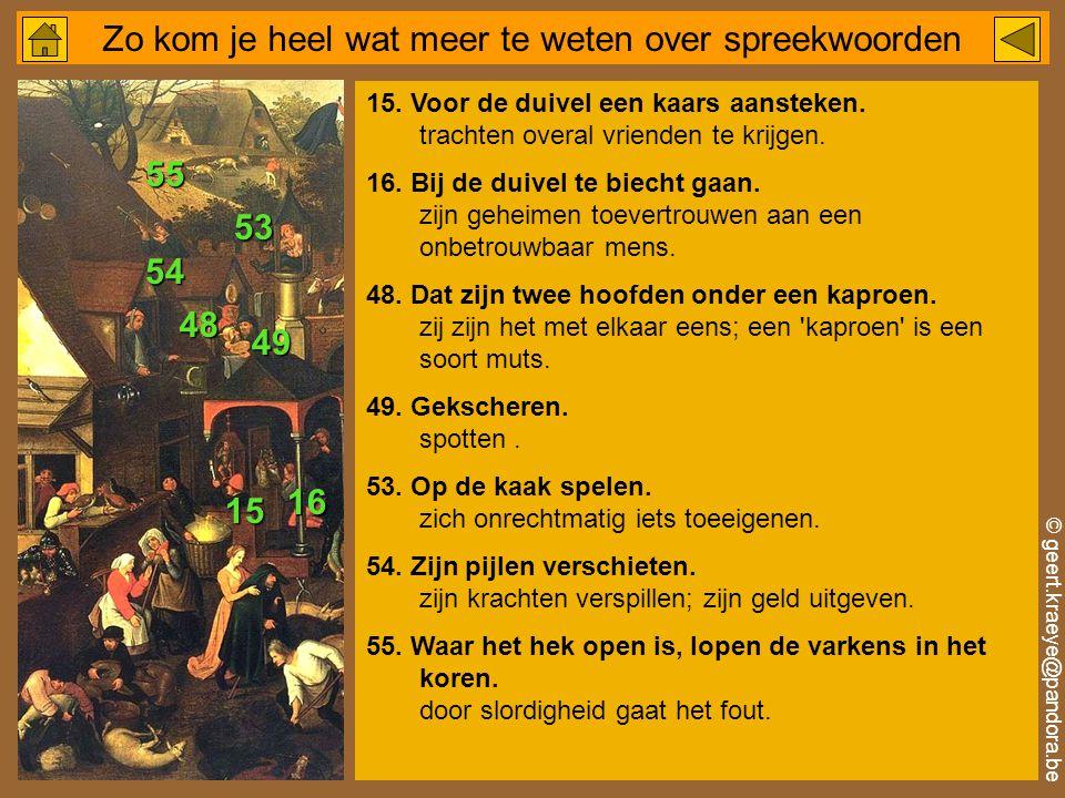 © geert.kraeye@pandora.be Zo kom je heel wat meer te weten over spreekwoorden 15.