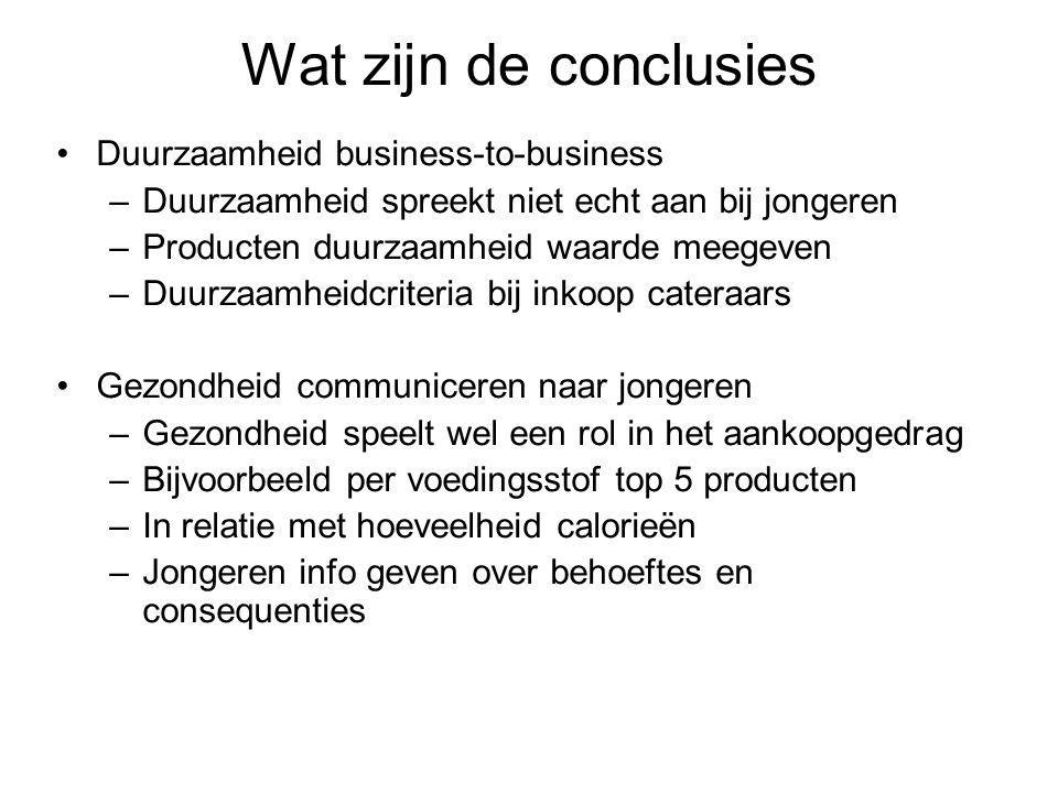 Wat zijn de conclusies •Duurzaamheid business-to-business –Duurzaamheid spreekt niet echt aan bij jongeren –Producten duurzaamheid waarde meegeven –Du