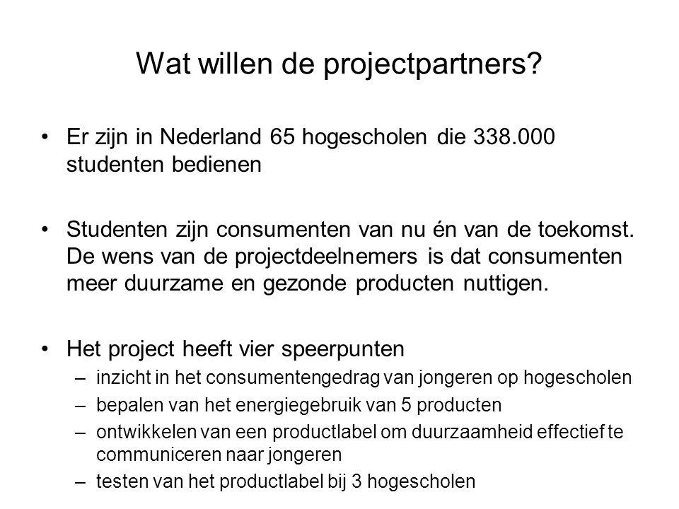 Wat willen de projectpartners? •Er zijn in Nederland 65 hogescholen die 338.000 studenten bedienen •Studenten zijn consumenten van nu én van de toekom