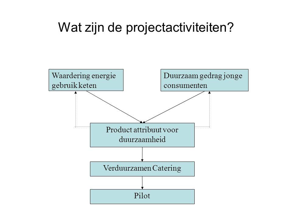 Wat zijn de projectactiviteiten? Waardering energie gebruik keten Duurzaam gedrag jonge consumenten Product attribuut voor duurzaamheid Pilot Verduurz