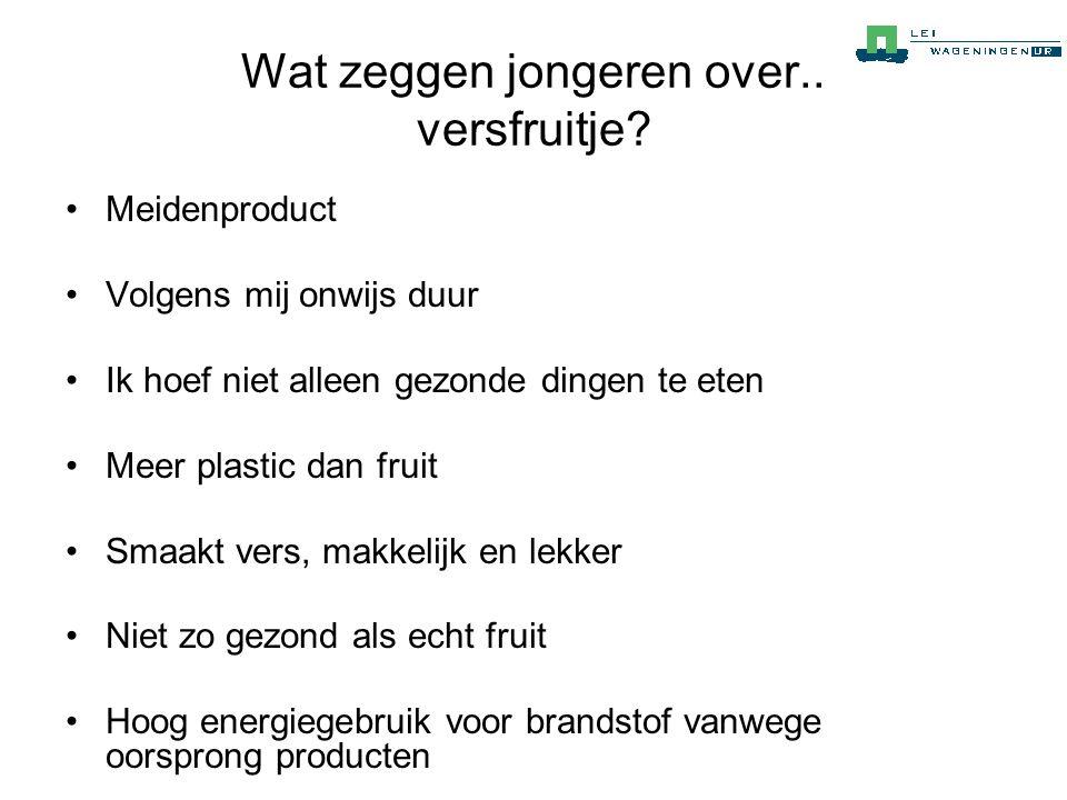Wat zeggen jongeren over.. versfruitje? •Meidenproduct •Volgens mij onwijs duur •Ik hoef niet alleen gezonde dingen te eten •Meer plastic dan fruit •S