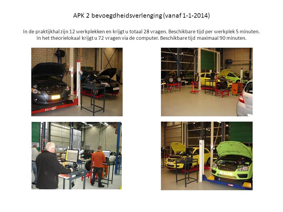 APK 2 bevoegdheidsverlenging (vanaf 1-1-2014) In de praktijkhal zijn 12 werkplekken en krijgt u totaal 28 vragen.