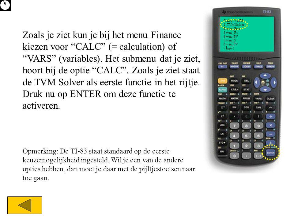 CALC VARS 1: TVM Solver 2: tvm_Pmt 3:tvm_I% 4:tvm_PV 5:tvm_N 6:tvm_FV 7  npv( Zoals je ziet kun je bij het menu Finance kiezen voor CALC (= calculation) of VARS (variables).