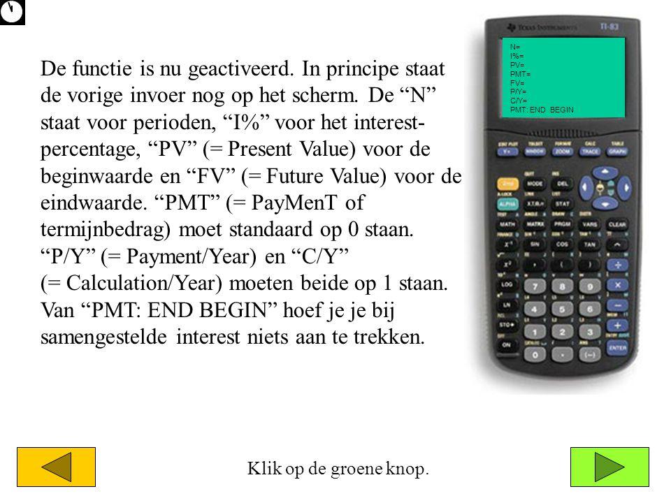 N= I%= PV= PMT= FV= P/Y= C/Y= PMT: END BEGIN De functie is nu geactiveerd.