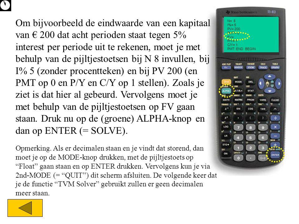N= I%= PV= PMT= FV= P/Y= C/Y= PMT: END BEGIN N= 8 I%= 5 PV= 200 PMT= 0 FV= P/Y= 1 C/Y= 1 PMT: END BEGIN Om bijvoorbeeld de eindwaarde van een kapitaal van € 200 dat acht perioden staat tegen 5% interest per periode uit te rekenen, moet je met behulp van de pijltjestoetsen bij N 8 invullen, bij I% 5 (zonder procentteken) en bij PV 200 (en PMT op 0 en P/Y en C/Y op 1 stellen).