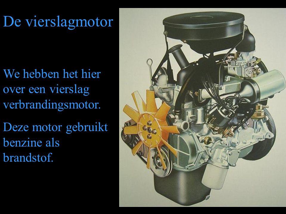 De vierslagmotor We hebben het hier over een vierslag verbrandingsmotor. Deze motor gebruikt benzine als brandstof.